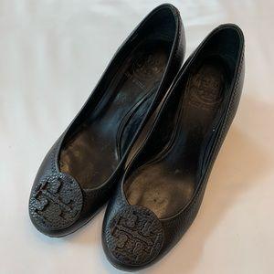Tory Burch Reva Wedge Pebbled Leather Heels 6.5